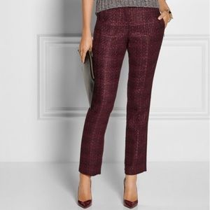 Tory Burch burgundy maroon tweed tuxedo pants